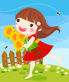Litter girl with sunflower Stock Image