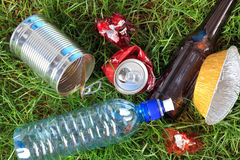 Litter on grass Stock Images