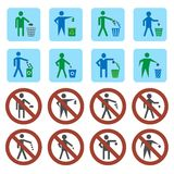 Litter icons set. Litter throwing forbidden and allow signs icons set  vector illustration Royalty Free Stock Photography