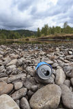 Litter on the river bed. Royalty Free Stock Images