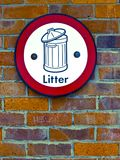 Litter Sign Stock Photography