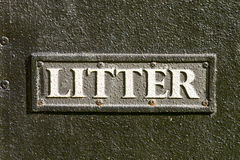 Litter sign on bin Stock Photos