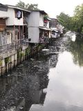 Littering and dirty canal Pollution. By local people Royalty Free Stock Photos
