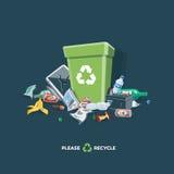 Littering Garbage around the Trash Bin  on Dark Background Stock Photos