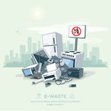 Littering Garbage E-waste Stack on the Street Road Royalty Free Stock Photo