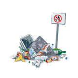 Littering Garbage Trash Stack with No Littering Sign. Vector illustration of littering waste pile that have been disposed improperly, without consent, at an Royalty Free Stock Photography