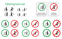 Littering icons. Set of littering icons for man, woman, girl and boy Stock Image