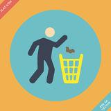 Littering sign icon - vector illustration. Flat Royalty Free Stock Photo