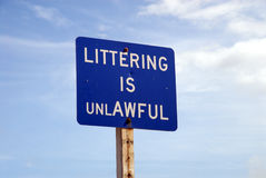 Littering is Unlawful sign. In the United States Royalty Free Stock Photography