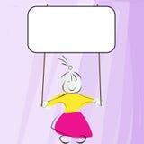 Littl girl holding banner. Cute little girl holding an empty editable banner Royalty Free Stock Images