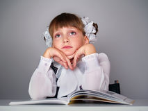 Littlе schoolgirl with books Royalty Free Stock Photography