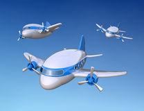 Little 3D airplanes. Air travel concept Stock Image