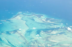 Little Abaco Island, Bahamas, Aerial view. View from an airplane of the Carribean Islands of Little Abaco, part of the Bahamas Royalty Free Stock Photo