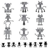 Little abstract robot doodle collection Royalty Free Stock Photo