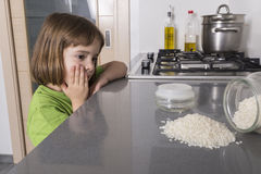 Little accident in the kitchen Royalty Free Stock Images