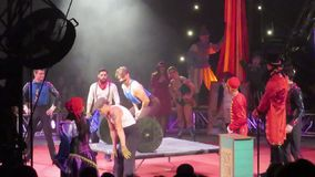 A comical scene in the circus. A little act of comedy in a circus show stock footage