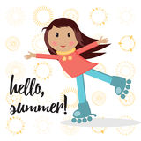 Little active cute girl on roller skates doing activity and saying 'Hello Summer' Royalty Free Stock Images