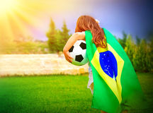 Little active football fan Royalty Free Stock Photos