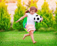 Little active football fan Royalty Free Stock Images