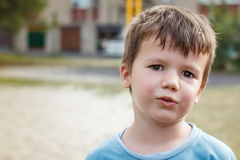 Little active sweating boy after play Royalty Free Stock Photo