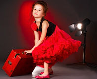 Little actress leaving the stage Stock Image