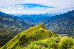 Little Adams Peak, Ella. Aerial panoramic view from Little Adams Peak. Little Adams Peak is located in Ella, Sri Lanka stock photo