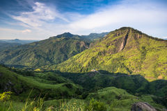 Little Adams peak in Ella, Sri Lanka. Panoramic picture of Beautiful Morning at little Adams peak in Ella, Sri Lanka royalty free stock photo