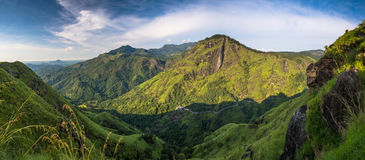 Little Adams peak in Ella, Sri Lanka. Panoramic picture of Beautiful Morning at little Adams peak in Ella, Sri Lanka royalty free stock photography