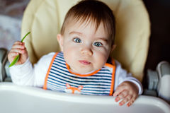 Little adorable baby boy sitting in high chair, holding a spoon stock image
