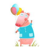 Little Adorable Baby Pig with Balloons for Kids Royalty Free Stock Photography