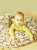 Little baby boy in blankets stock images
