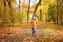 Little adorable boy in yellow jacket running along the path and stock images