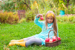 Little adorable girl with basket of red apples in Stock Photography
