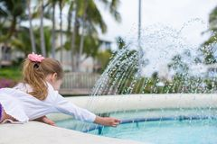 Little adorable girl in a beautiful exotic hotel Royalty Free Stock Image