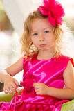 Little adorable girl celebrating 3 years birthday. Stock Photography