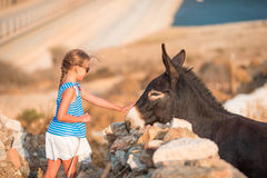 Little adorable girl with donkey in its wild habitat Stock Photo