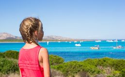 Little adorable girl enjoying beautiful view of Royalty Free Stock Images