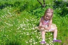 Little adorable girl on flower green glade Stock Image