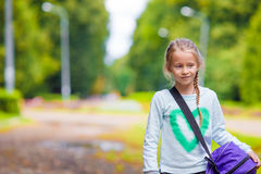 Little adorable girl going to the gym with her Stock Photos