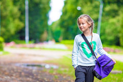 Little adorable girl going to the gym with her Royalty Free Stock Photos