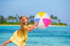 Little adorable girl playing with air ball outdoor Royalty Free Stock Photos