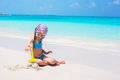 Little adorable girl on seashore during summer Royalty Free Stock Photography