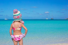 Little adorable girl on tropical beach Stock Photos