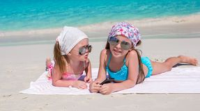 Little adorable girls during caribbean vacation Royalty Free Stock Photo