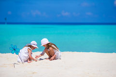 Little adorable girls drawing picture on white Royalty Free Stock Photo