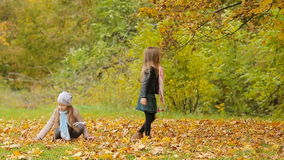 Little adorable girls having fun with leaves at warm day in autumn park outdoors. Little adorable girls at warm day in autumn park outdoors stock video