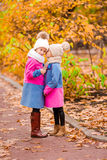 Little adorable girls playing in beautiful autumn park outdoor Stock Photos