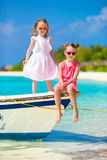 Little adorable girls during tropical beach Stock Image