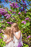 Little adorable girls whispering at beautiful Royalty Free Stock Photos