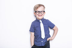 Little adorable kid in tie and glasses. School. Preschool. Fashion. Studio portrait isolated over white background. Portrait of a little boy in a funny glasses royalty free stock photography